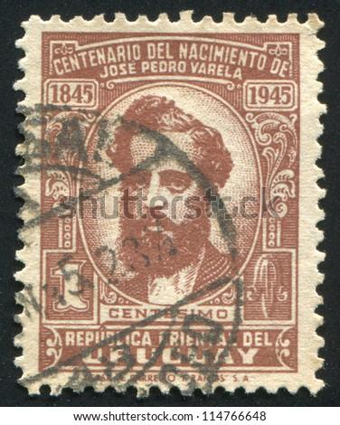 URUGUAY - CIRCA 1944: stamp printed by Uruguay, shows Jose Pedro Varela, circa 1944 - stock photo