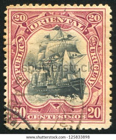 URUGUAY - CIRCA 1897: stamp printed by Uruguay, shows Sailing Ship, circa 1897 - stock photo