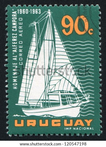 URUGUAY - CIRCA 1963: stamp printed by Uruguay, shows Sailing Vessel Alferez Campora, circa 1963 - stock photo