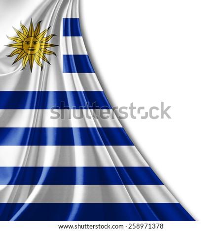 Uruguay flag and white background - stock photo