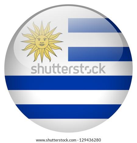 Uruguay flag button - stock photo
