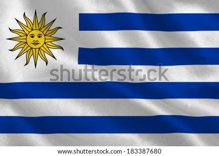 Uruguay flag rippling - stock photo