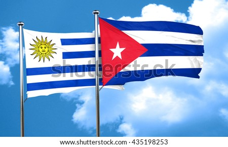 Uruguay flag with cuba flag, 3D rendering