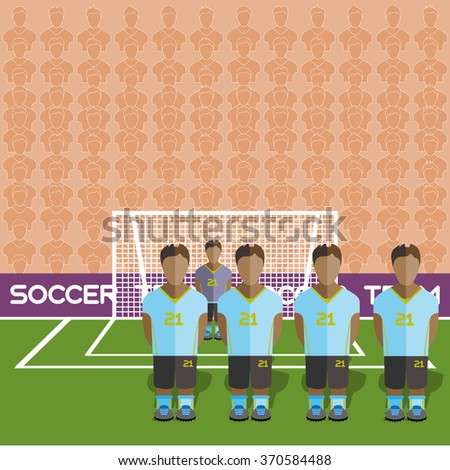 Uruguay Football Club Soccer Players Silhouettes. Computer game Soccer team players big set. Sports infographic. Football Teams in Flat Style. Goalkeeper Standing in a Goal. Raster illustration. - stock photo