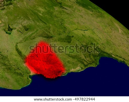 Uruguay from space in red. 3D illustration with highly detailed realistic planet surface. Elements of this image furnished by NASA.