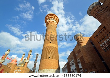 URUMQI, CHINA � SEPTEMBER 7: International Grand Bazaar on September 7, 2013 in Urumqi, China. International Grand Bazaar is an Islamic bazaar. It was completed in 2002 and opened to public in 2003. - stock photo