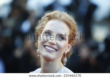 US actress Jessica Chastain arrives for the screening of 'Moonrise Kingdom' and the opening ceremony of the 65th Cannes film festival on May 16, 2012 in Cannes, France - stock photo