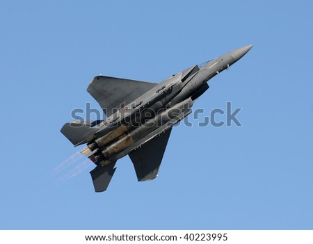 US Air Force fighter jet at high speed - stock photo