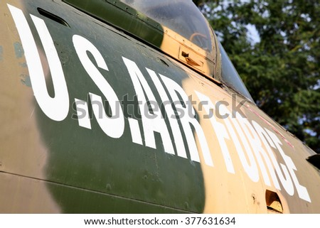 US Air Force marking on the side of aircraft - stock photo