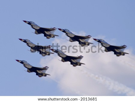 "US Air Force ""Thunderbirds"" demonstration team. - stock photo"