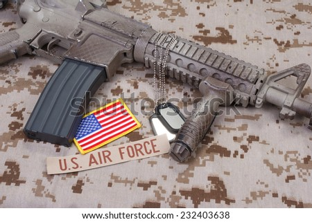 us air force uniform and weapon concept background - stock photo