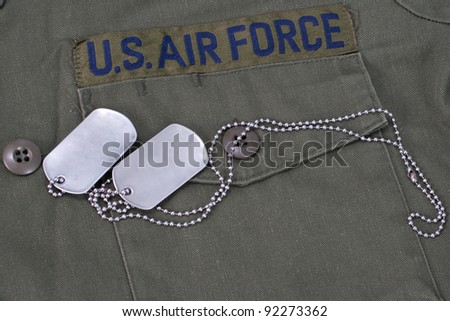 us air force uniform with blank  dog tags - stock photo