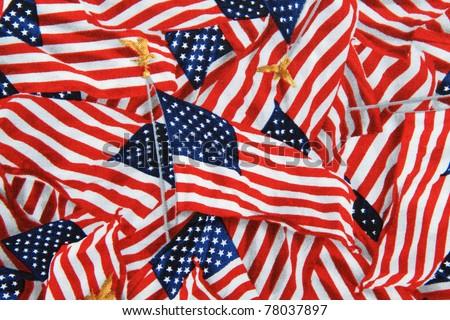 US American Flag on Pole Background - stock photo