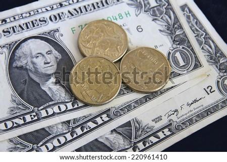US and Australian Dollars - stock photo