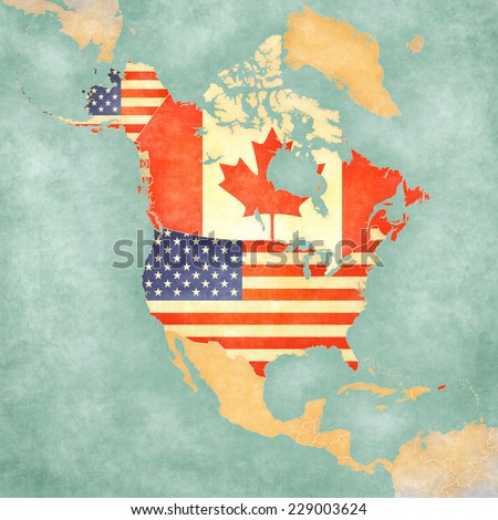 US and Canada on the outline map of North America. The Map is in vintage summer style and sunny mood. The map has a soft grunge and vintage atmosphere, which acts as watercolor painting on old paper.  - stock photo