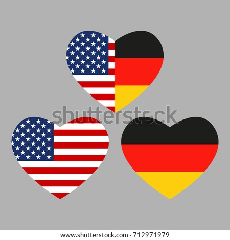 Us Germany Flags Icon Heart Shape Stock Illustration 712971979