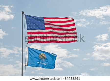 US and Oklahoma flags - stock photo