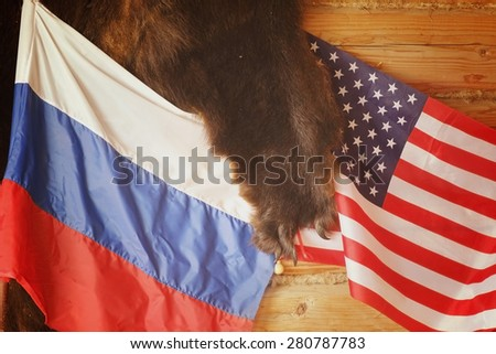 US and Russian flags on the bearskin rug