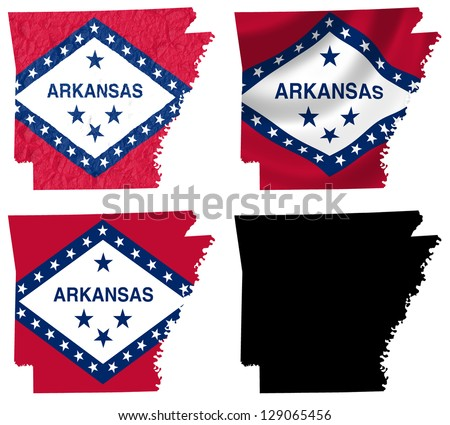 Us Arkansas State Flag Over Map Stock Illustration - Map of us arkansas