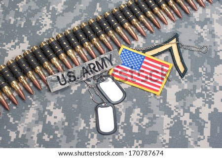 US ARMY concept on camouflage uniform - stock photo