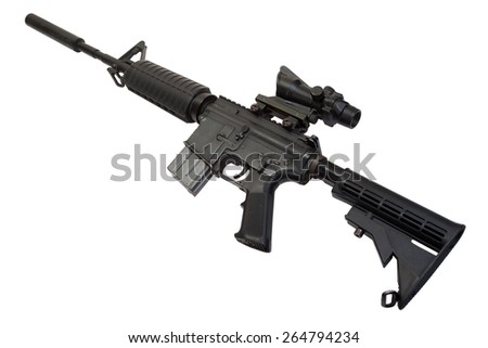 US Army M4 Carbine isolated on a white background - stock photo