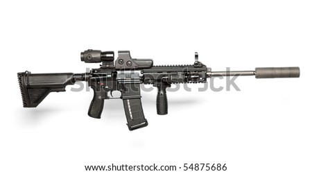 US Army M4 rifle isolated on white - stock photo