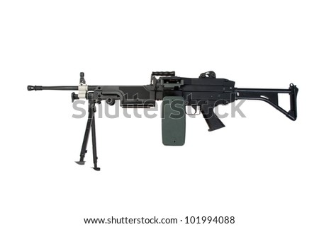 us army machine gun isolated on white - stock photo