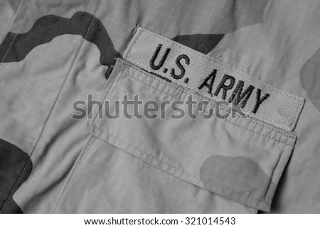 US Army patch on solder's uniform