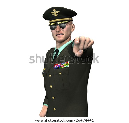 us army recruitment officer / general pointing his finger at you - stock photo