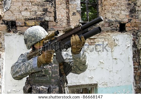 US Army Soldier in action - stock photo