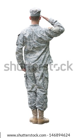 US Army soldier in Saluting position. Back view, isolated on white background (Memorial day, Veteran's day, 4th of july, Independence day) - stock photo