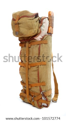 US army vintage back pack from second world war. Great baggage for stylish hikers. - stock photo