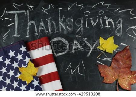 US autumn holidays chalk board - stock photo