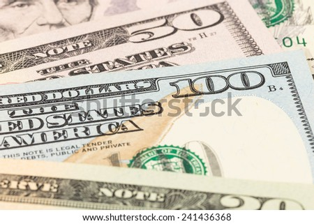US banknote focus on 100 dollar bill