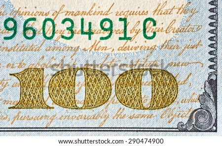 US $100 bill corner in very high resolution showing texture, microprinting and other ultra fine details. - stock photo