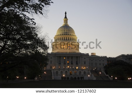 US Capital Building at Twilight - stock photo