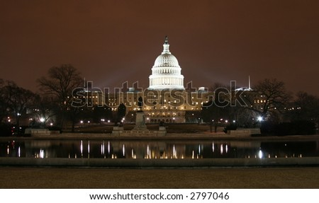 US Capital Building in Winter at Night