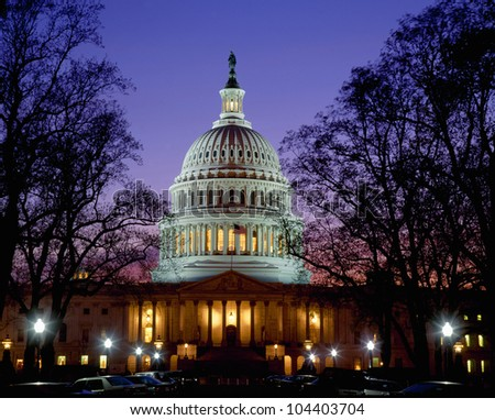US Capitol at dusk, Washington DC - stock photo