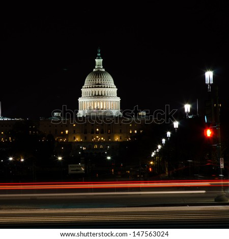 US Capitol building at night - Washington DC, United States