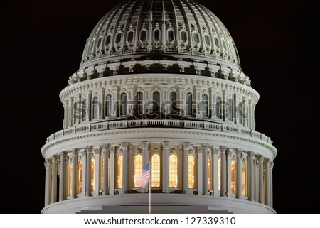 US Capitol building dome detail at night - Washington DC United States - stock photo
