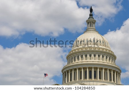 US Capitol Building dome detail in Washington DC United States - stock photo