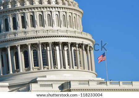 US Capitol Building dome detail - Washington DC, United States - stock photo