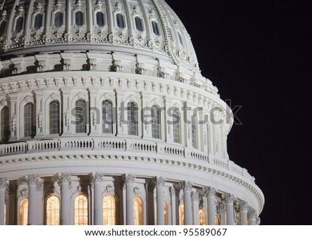 US Capitol building dome, details, at night, Washington DC, United States - stock photo