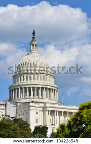 US Capitol Building in a cloudy summer day - Washington DC - stock photo