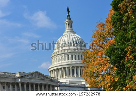 US Capitol Building in Autumn - Washington DC, United States