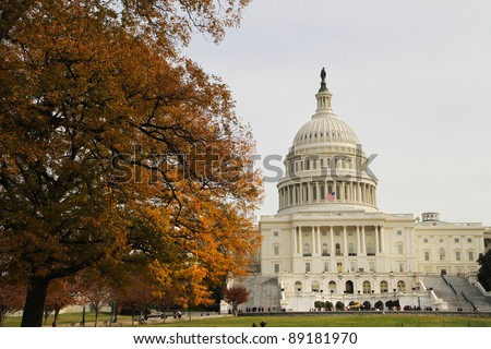 US Capitol building in late fall