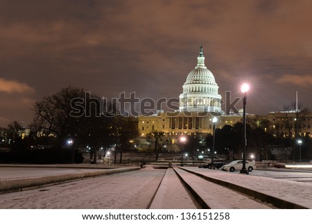 US Capitol Building in snow - Night shot - Washington DC, United States