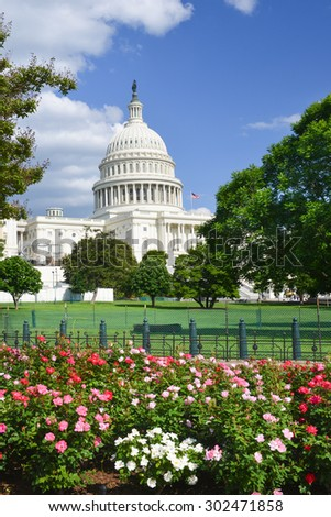 US Capitol Building in Spring - Washington DC, USA - stock photo