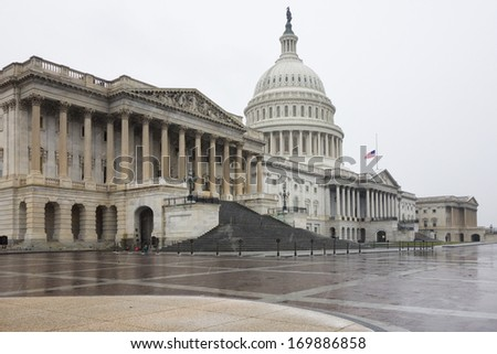 US Capitol Building in winter - stock photo
