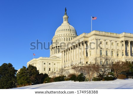 US Capitol Building in winter - Washington DC, USA